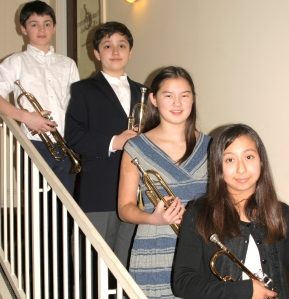MIC Trumpet Quartet (left to right: Charlie, Adam, Abby, and Angelina)